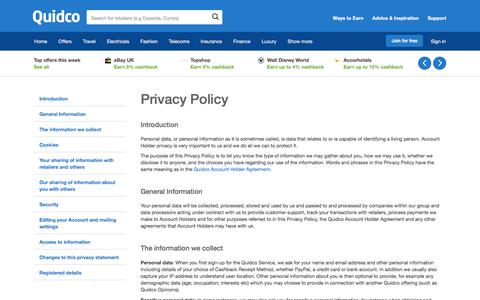 Screenshot of Privacy Page quidco.com - Quidco - The UK's #1 Cashback Site - captured March 15, 2018
