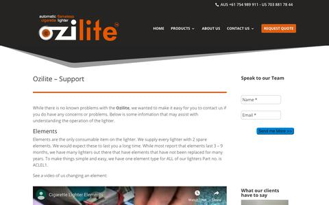 Screenshot of Support Page ozilite.com - OZILITE Support - Best in Class | Ozilite - captured Oct. 19, 2018