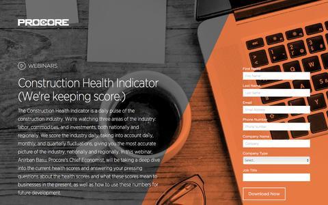 Screenshot of Landing Page procore.com - Construction Health Indicator - captured May 5, 2016