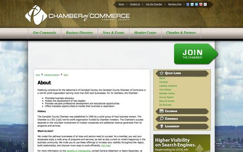 Screenshot of About Page gillettechamber.com - About - Campbell County Chamber of Commerce | Gillette, WY - captured Oct. 1, 2014