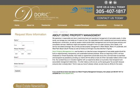 Screenshot of About Page doricproperty.com - About Your Miami Property Management Company | Doric Property Management - captured Oct. 5, 2014