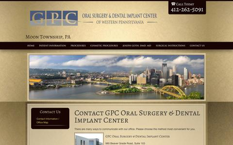 Screenshot of Contact Page gpcsurgery.com - Contact GPC Oral Surgery & Dental Implant Center Moon Township PA - captured Oct. 4, 2014