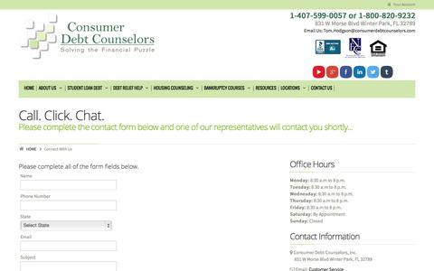 Screenshot of Contact Page Support Page consumerdebtcounselors.org - Connect With UsConsumer Debt Counselors - captured Oct. 22, 2014