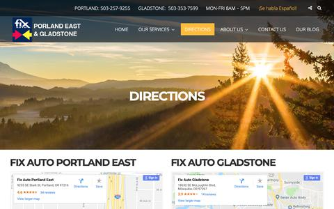 Screenshot of Maps & Directions Page fixautobodyportland.com - Directions - Fix Auto Portland East and Gladstone - captured Oct. 10, 2018