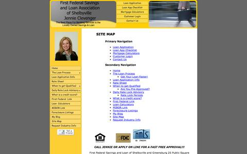 Screenshot of Site Map Page shelbyvilleindianamortgage.com - Site Map - First Federal Savings and Loan of Shelbyville and Greensburg - captured Oct. 6, 2014