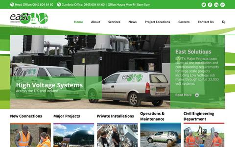 Screenshot of Home Page east-solutions.co.uk - High Voltage Systems UK - Civil Engineering - captured Nov. 8, 2016
