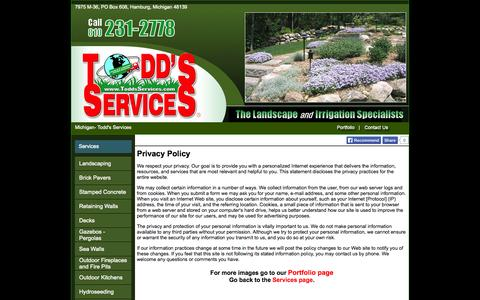 Screenshot of Privacy Page toddsservices.com - Michigan- Todd's Services - captured Sept. 30, 2014