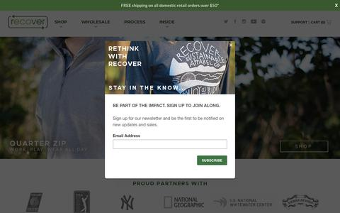 Screenshot of Home Page recoverbrands.com - Recover Brands | Eco-Friendly 100% Recycled Apparel - captured Oct. 20, 2018