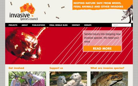 Screenshot of Home Page invasives.org.au - Invasive Species Council - captured Oct. 6, 2014