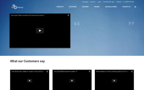 Screenshot of Testimonials Page knowlarity.com - Cloud Telephony   Unified Communications - Knowlarity.com - captured Oct. 25, 2015