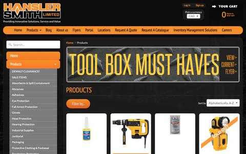 Screenshot of Products Page hansler.com - Products   Hansler Smith Limited - captured July 15, 2017