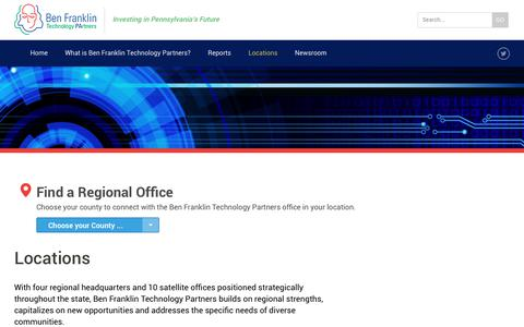Screenshot of Locations Page benfranklin.org - Locations   Ben Franklin Technology Partners - captured June 27, 2017
