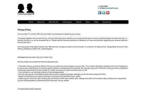 Screenshot of Privacy Page communicatetv.co.uk - Communicate TV - captured Sept. 30, 2014