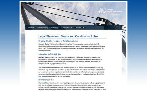 Screenshot of Terms Page goodwincap.com - Goodwin Capital Advisers Important Legal Information - captured Jan. 31, 2016