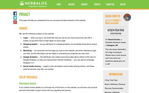 Screenshot of Privacy Page controlbodyweight.com - Privacy - David Christie's Herbalife Shop - captured Oct. 2, 2014
