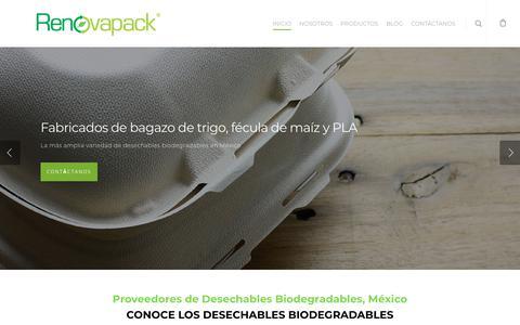 Screenshot of Home Page renovapack.com - Renovapack - Empaques compostables en México, Empaques compostables en México-Renovapack - captured Sept. 21, 2018