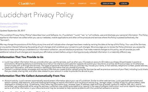 Screenshot of Privacy Page lucidchart.com - Lucidchart Privacy Policy | Lucidchart - captured Feb. 14, 2018