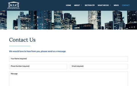 Screenshot of Contact Page klcfinancial.com - KLC Financial | Capital Equipment Leasing & Financing Company Minnesota - captured Oct. 14, 2018