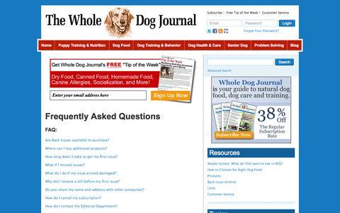 Screenshot of FAQ Page whole-dog-journal.com - FAQs - Whole Dog Journal - captured Oct. 30, 2014