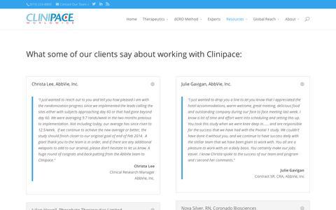 Screenshot of Testimonials Page clinipace.com - Clinipace Testimonials - captured April 3, 2016