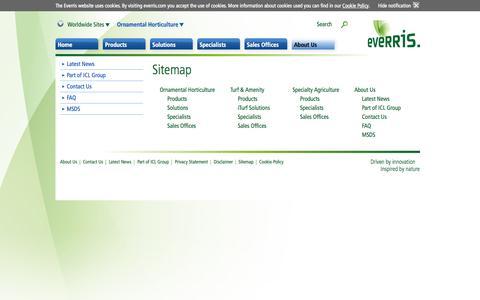Screenshot of Site Map Page everris.com - Everris | Sitemap - captured Sept. 19, 2014