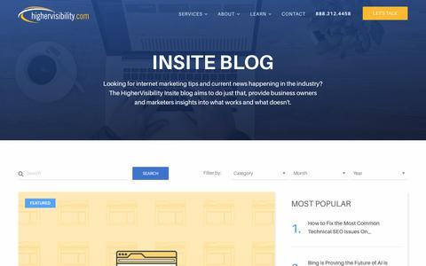 Screenshot of Blog highervisibility.com - Internet Marketing Blog | Online Marketing Tips - captured Jan. 13, 2018