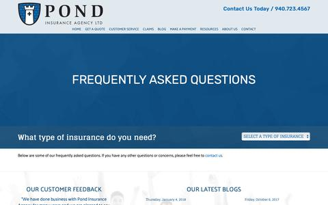 Screenshot of FAQ Page piatx.com - Frequently Asked Questions - Pond Insurance Agency LTD - captured Sept. 28, 2018