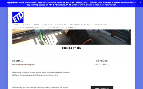 Screenshot of Contact Page etd-consulting.com - Contact — ETD Consulting - captured Sept. 26, 2014
