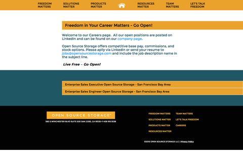 Screenshot of Jobs Page opensourcestorage.com - Careers - OSS - captured Feb. 21, 2016