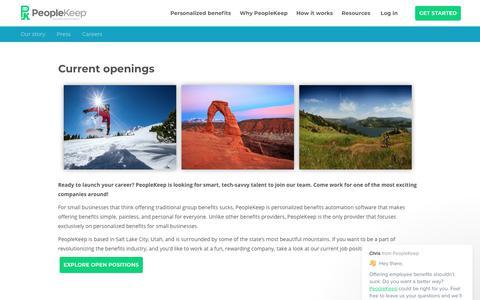 Screenshot of Jobs Page peoplekeep.com - Chris says… - captured March 14, 2018