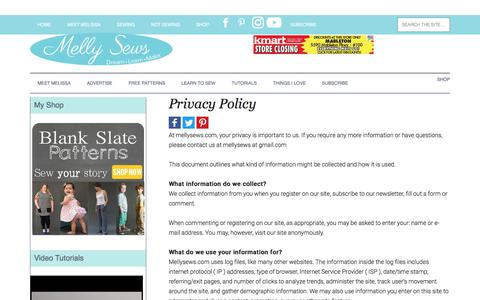 Screenshot of Privacy Page mellysews.com - Privacy Policy - Melly Sews - captured Oct. 29, 2017