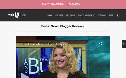 Screenshot of Press Page warpaintinternational.com - Press — Warpaint International Beauty Agency - captured April 7, 2016