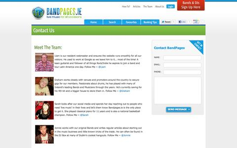 Screenshot of Contact Page bandpages.ie - Contact - captured Oct. 5, 2014