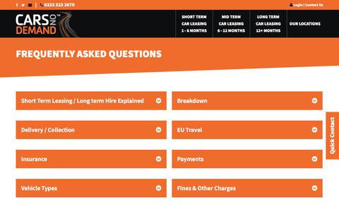 Screenshot of FAQ Page carsondemand.co.uk - FAQs | Cars On Demand - captured Feb. 17, 2018