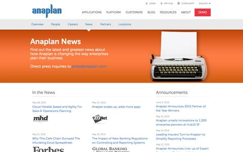 Screenshot of Press Page anaplan.com - Read all the latest news from Anaplan - captured June 17, 2015