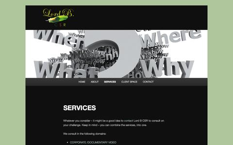 Screenshot of Services Page lordbcsr.com - SERVICES | - captured Sept. 30, 2014