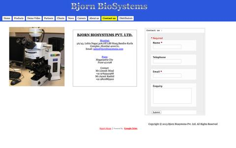 Screenshot of Contact Page bjornbiosystems.com - Contact us - Bjorn Biosystems - A Leader In Medical Imaging Technology And Cytogenetic Diagnostics - captured Oct. 5, 2014