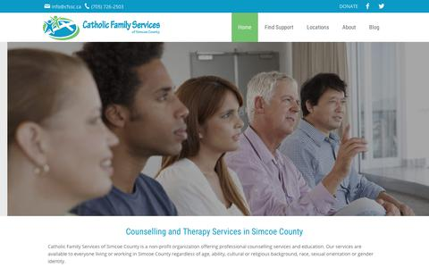 Screenshot of Home Page cfssc.ca - Counselling & Therapy Services - Catholic Family Services Simcoe  | Catholic Family Services of Simcoe County - captured July 17, 2017