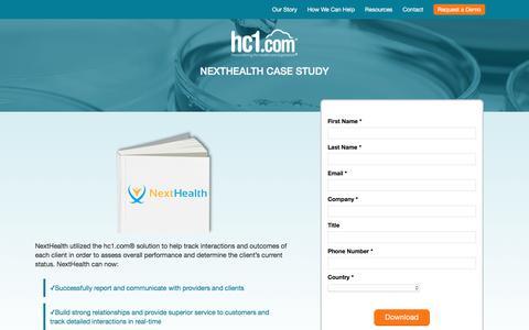 Screenshot of Case Studies Page hc1.com - NextHealth Case Study | hc1.com Personalizing the Healthcare Experience(TM) - captured Nov. 3, 2016