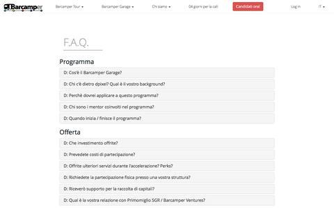Screenshot of FAQ Page barcamper.it - Barcamper Garage - FAQ - captured May 31, 2017