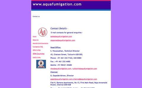 Screenshot of Contact Page aquafumigation.com - contactus - www.aquafumigation.com - captured Oct. 4, 2014