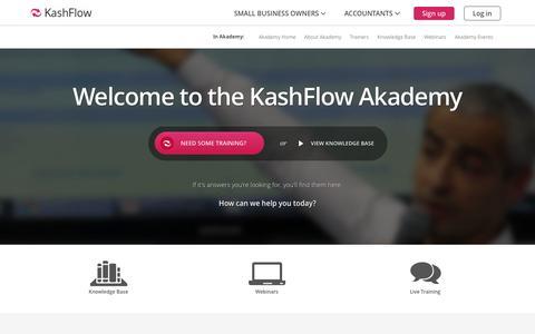 Screenshot of Support Page kashflow.com - KashFlow Akademy - Updates include Videos, Webinars, Training & Articles - captured Oct. 10, 2014