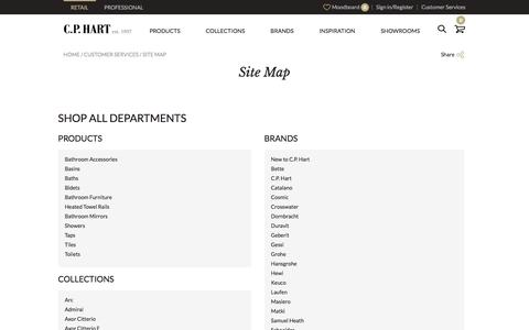 Screenshot of Site Map Page cphart.co.uk - Site Map | Customer Services | CP Hart - captured Dec. 6, 2015