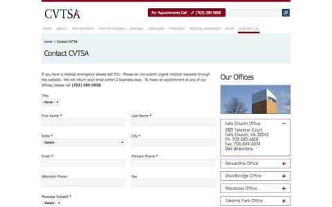 Screenshot of Contact Page Maps & Directions Page cvtsa.com - Contact CVTSA   Cardiac Vascular & Thoracic Surgery Associates - captured Oct. 22, 2014