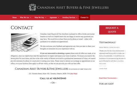 Screenshot of Contact Page canadianassetbuyers.ca - Contact Canadian asset buyers | Questions or comments about cash for gold - captured Dec. 6, 2015