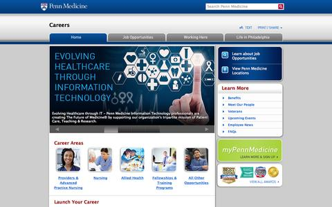 Screenshot of Jobs Page pennmedicine.org - Careers  | Penn Medicine - captured June 16, 2015