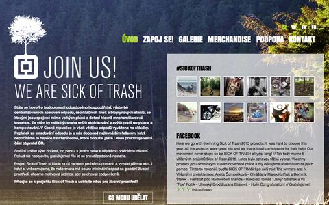 Screenshot of Home Page sickoftrash.eu - Sick of trash 2015 | Horsefeathers® THIS IS OUR PLANET, HELP KEEP IT CLEAN - captured Sept. 18, 2015