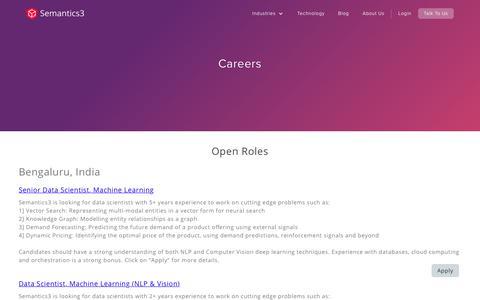 Screenshot of Jobs Page semantics3.com - Semantics3 - Careers - captured Nov. 16, 2019