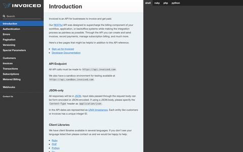 Screenshot of invoiced.com - Invoiced API Documentation - captured March 21, 2016