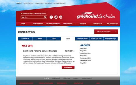Screenshot of Press Page greyhound.com.au - Media - captured Sept. 19, 2014